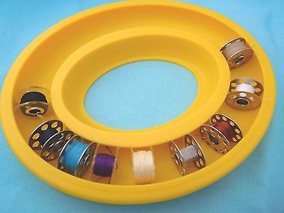 Bobbin Saver Ring, Storage Holder For Metal And Plastic Bobbins - Yellow