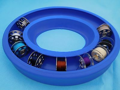 Bobbin Saver Ring, Storage Holder For Metal And Plastic Bobbins - Blue
