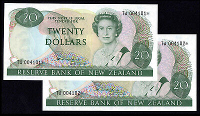 NEW ZEALAND 20 DOLLARS (P173ar) N. D. (1981-85) STAR REPLACEMENT CONSECUTIVE UNC