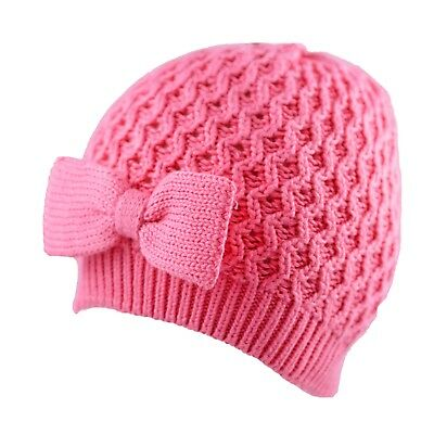 Baby Girls Hat With Bow Cotton Beanie Cap Crochet Knitted Pink 0-3, 3-6 Months