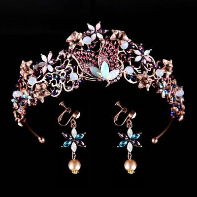 Gold Crystals Bridal Crown Tiara Wedding Party Bride Hair Headdress With Earring
