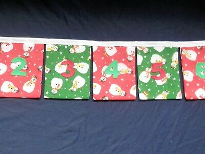 Handcrafted Fabric Advent Bunting