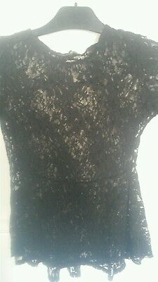 Sexy Black Floral sheer Lace Peplum Style Top Size 8
