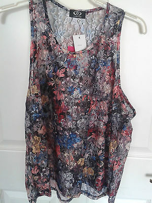 Floral Multi coloured Sheer Lace Top size 8