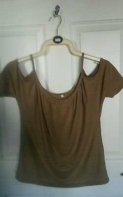 Khaki Green/Brown Top with Cut out Shoulders size L (10-12)