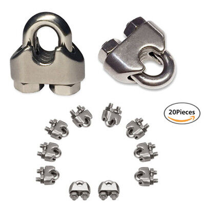"""M3 Corrosion Resistant Stainless Steel Wire Rope Cable Clip Clamp 1/8"""" 20 Pieces"""