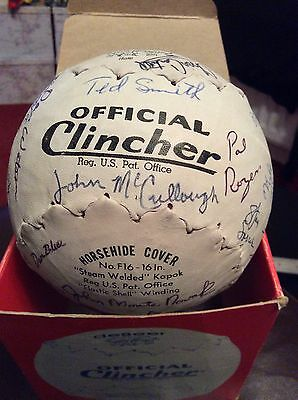 """Boxed Multi Signed American """"No.F16 Clincher"""" Softball by J.de Beer and Son."""