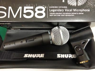 Shure SM58S Dynamic Microphone with Switch - New with Clip & Pouch