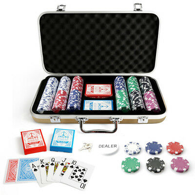 300 Chips Poker Set Gold Carry Case Dice Chips 11.5g Chips Plastic Cards New