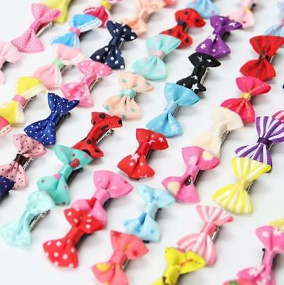 100x Kids Baby Girl's Bow Ribbon Hair Bow Mini Latch Clips Hair Clip Hairpin LOT