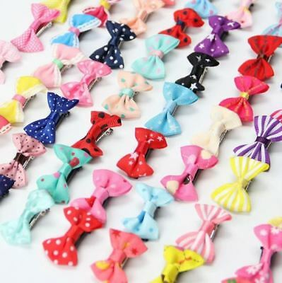 100x Kids Baby Girl's Ribbon Hair Bow Mini Latch Clips Hair Clip Hairpin LOT #M1