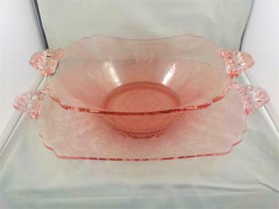 Vintage excellent pink etched glass dish and platter