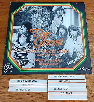 THE GHOST PS Single When You're Dead UK PROG ROCK 1971 SPAIN PROMO JUKEBOX TAG