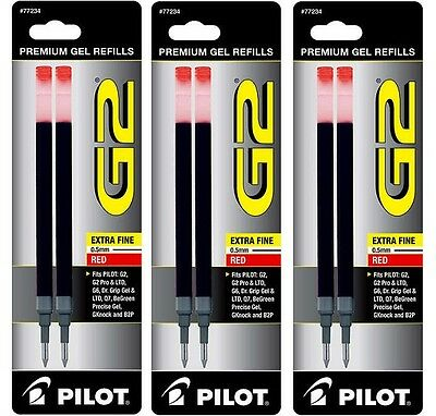 Pilot Refill for G2 Gel Pen, Extra Fine Point, Red, 2ct each Pack of 3