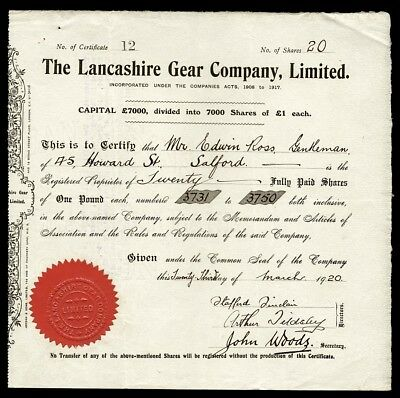 Lancashire Gear Company, Limited (1920)