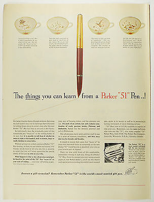 """Vintage 1953 PARKER """"51"""" Fountain Pen Full Page Print Ad"""