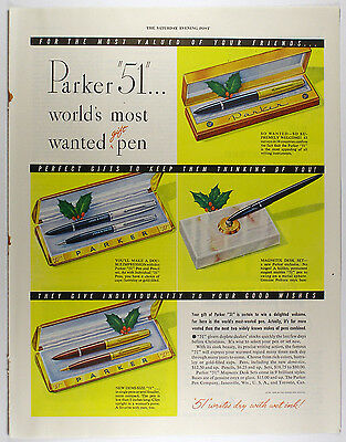 """Vintage 1948 PARKER """"51"""" Fountain Pen Full Page Print Ad: MOST WANTED 'GIFT' PEN"""