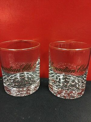 2 Canadian Club Imported Whisky Gold Trim Vintage Glasses Very UNIQUE BOTTOM!!!
