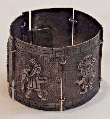 Vintage Silver with Mexican Mayan Figures Panel Bracelet