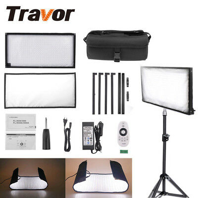 Dimmable 448 LED Video Light ROLL-UP Panel Studio Shooting Photography Lighting