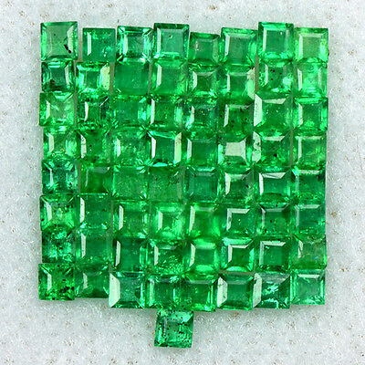 1.67 Cts Natural 1.5 upto 2 mm Emerald Gemstone Top Green Square Cut Lot Zambia