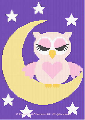 Crochet Patterns - SLEEPY BABY GIRL OWL ON THE MOON Graph/Chart Afghan PATTERN