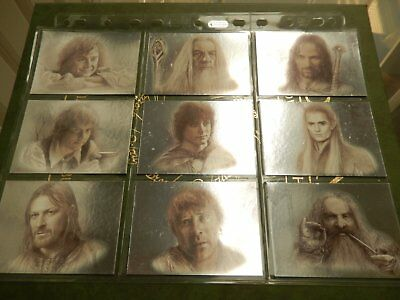 The Lord of The Rings Masterpieces Foil Art Cards Full set of 9 Cards - Topps