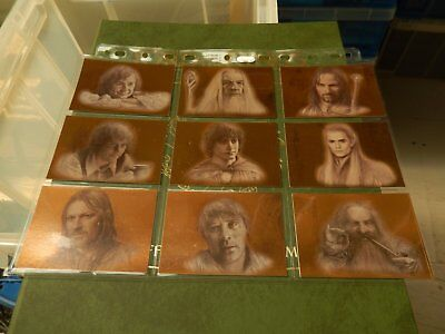 "The Lord of The Rings Masterpieces ""Bronze Parallel"" Full set of 9 Cards - Topps"