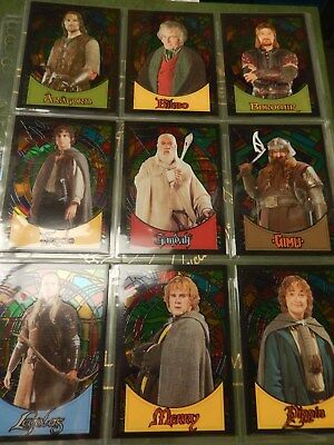 The Lord of The Rings Evolution Stained Glass complete Card set - 2006 Topps