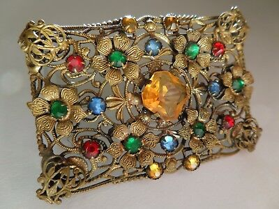 Fine Art Nouveau, Vintage Czech Filigree Brooch Strewn with Colourful Pastes.