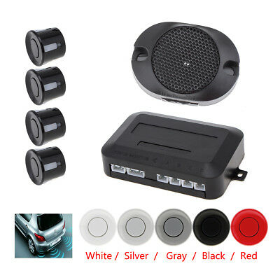 Car Auto 4 Parking Sensor Reverse Backup Alarm Buzzer Rear Radar System Black