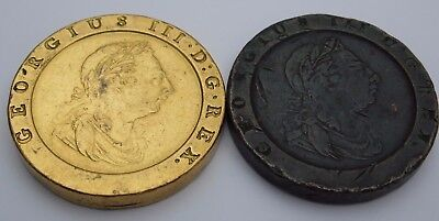 2 Cartwheel Twopence coins - King George III ; 1 x Copper and 1 x Gold Plated