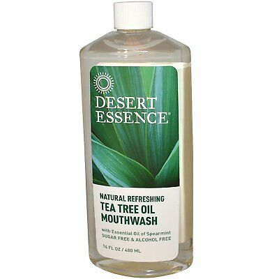 Desert Essence Natural Refreshing Tea Tree Oil Mouthwash Oil of Spearmint 2 pack