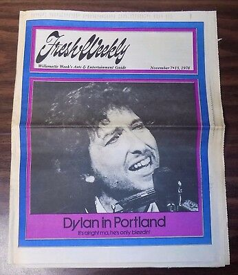 Fresh Weekly Portland music newspaper BOB DYLAN CONCERT cover article 1978 rock