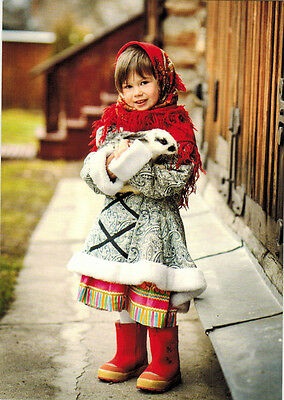GIRL IN WINTER ETHNIC OUTFIT HOLDS RABBIT Modern Russian postcard