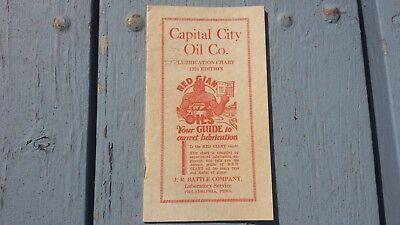 1926 Capital City Red Giant Oil Lubrication Chart Booklet Brochure Gas Station
