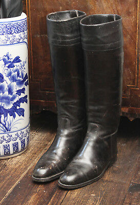 A Good Pair of Antique Black Leather Riding /Cavalry Boots