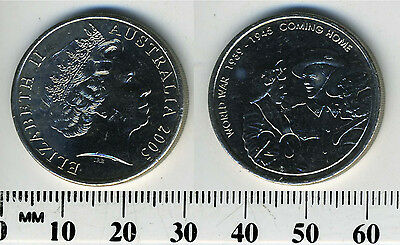 Australia 2005 20 Cents Coin Queen Elizabeth Ii Coming Home From Wwii