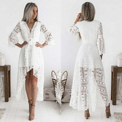 Aurora High Low Dress - White