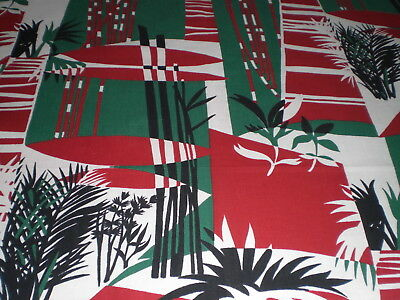 1950 French Cotton Fabric Striking Tropical Bamboo Design Remnant