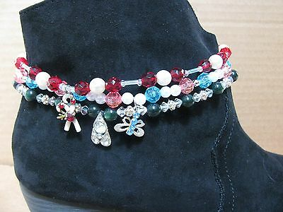 3 Diff Handmade Stretchy Cord Boot Bracelets Multicolors Jewelry Anklets Lot#3