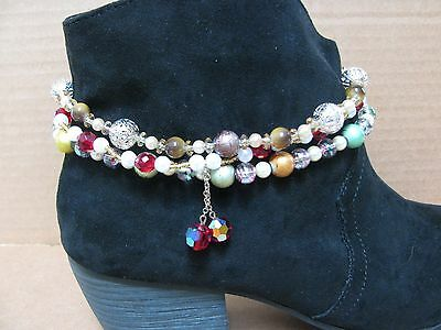 3 Diff Handmade Stretchy Cord Boot Bracelets Multicolors Jewelry Anklets Lot#6