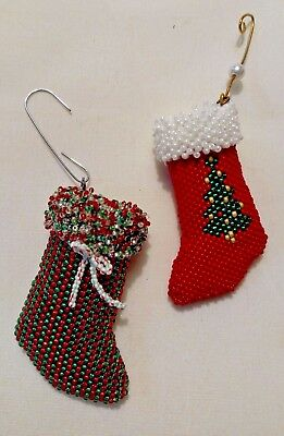 Hand Beaded Stocking Ornaments-Set of Two