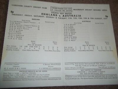 England V Australia Ashes Scorecard 4Th Test Headingley 1977 Geoff Boycott 100*