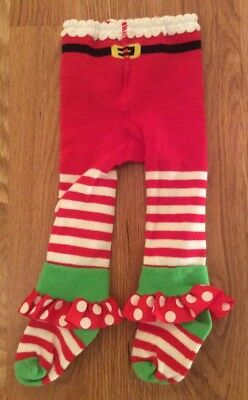 NWOT Mud Pie Striped Dot Christmas Holiday Santa Jingle Bell Tights 0-6 month