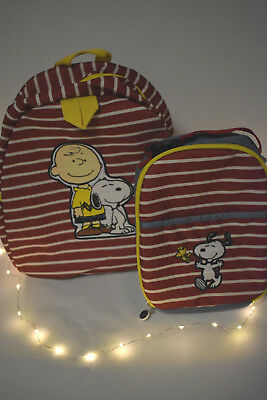 Hanna Andersson & Pottery Barn Kids Backpack Peanuts Snoopy SET Lunch Bottle NWT