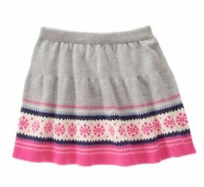 SZ 8 Gymboree Gray Pink FAIR ISLE FLURRY Sweater Knit Skirt New Girl NWT
