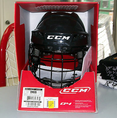 New in Box - CCM 04 Hockey Helmet Combo - Junior Black- CLEAR-OUT!