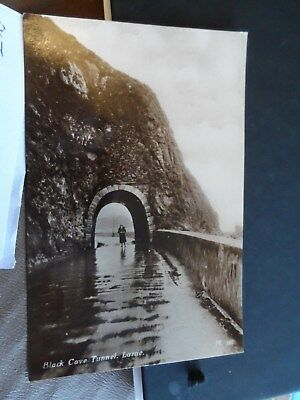 larne postcard antrim ireland real photograph black cave tunnel  m197