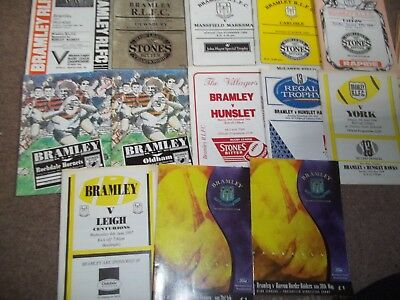 Bramley Rugby League Programme Collection Homes 1985 - 1999 X 13